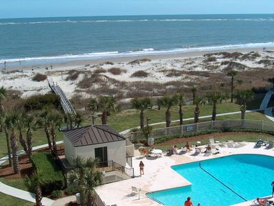 Oceanfront!  Just steps from the condo to beach and pool
