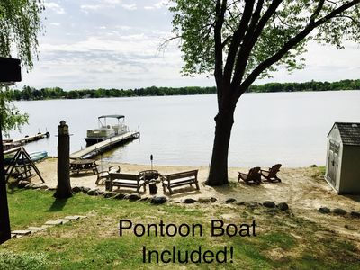 Thisisit-Too Lakefront Cottage Includes 22' Pontoon Boat and Sandy Beach!