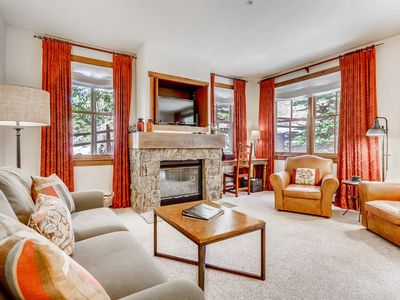 Photo for Cozy condo w/ mountain views, walk to ski lifts - shared hot tub and pool!