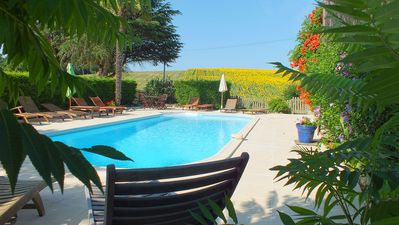 Photo for Les Hirondelles, One of 3 cottages at Peyrenegre Gites.  Heated salt water pool