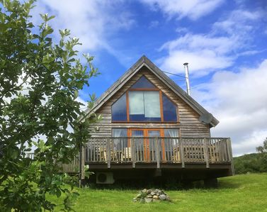 Photo for Charming log cabin with great views over beautiful Loch Awe and mountains beyond