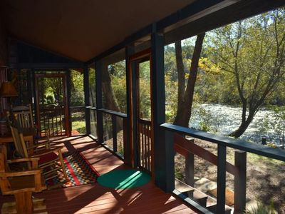 Photo for 2BR/2.5 BA with sleeping Loft, Sleeps 6, Located on the banks of the Toccoa River, Dock on River, Ou