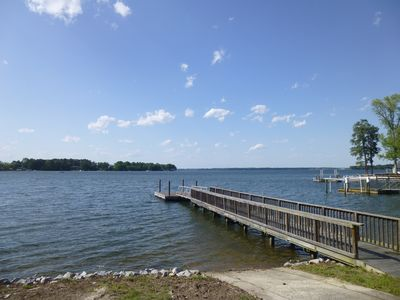 Boat ramp (8 feet wide) and dock.  If wider ramp needed-marina 2 miles by land.