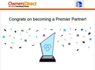 """Awarded status of """"Premier Partner"""" by HomeAway & Owner's Direct."""