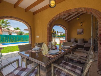 Photo for Denia 2km luxury villa Inge at the sea gr. Garden, pr. Heated pool, air conditioning, BBQ, terrace