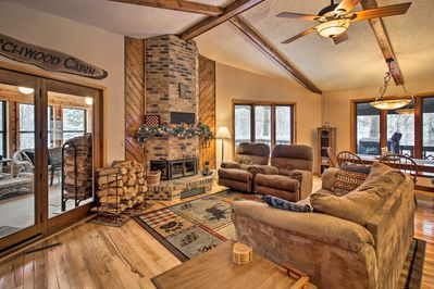 Keep warm in front of the wood-burning fireplace for a relaxing afternoon.
