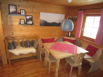 Photo for Rustic cabin in snow-sure 1750m with pool & sauna, directly in the ski and hiking area!