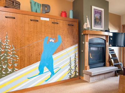 Photo for The Blue Bear Awaits You.  Largest One Bedroom Zephyr, plus Coffee Table Foosball!
