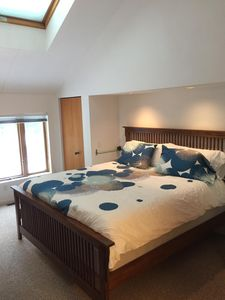 First of two master bedrooms, king bed with adjoining bathroom