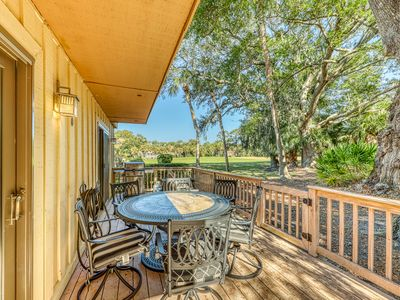 Photo for Golf-course-front condo with deck & 2 pools - walk to the beach/tennis!