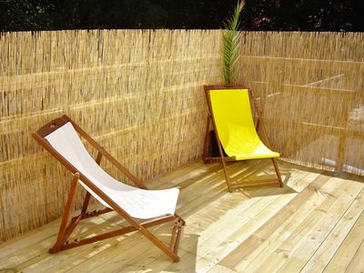 MER : Sunny terrace to relax on deckchairs in a quiet 200m Beach