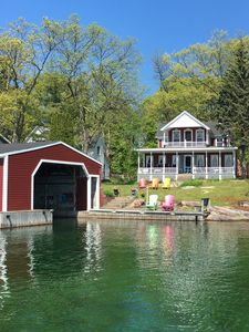 View from Channel with cottage and Boathouse