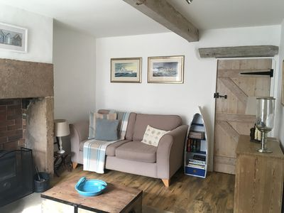 Cosy living area with log burner