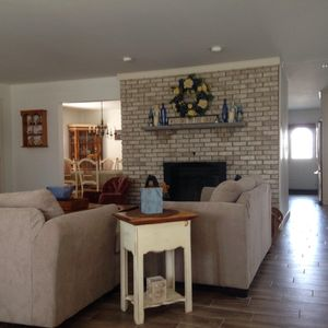 front view of living room and dining room