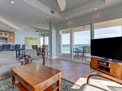 Photo for Lux Gulf Front, Top Floor Views! Stroll to town. 3BR (2 Kings), Pool, Sleeps 10+