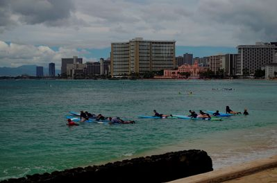 Waikiki Beach surfing lesson.