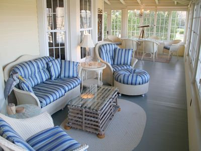 Large Front Porch for relaxing and dining   water views of courseA Waterfront LUXURY in Town House with Wate    VRBO. Porch Dining Room Kennebunkport. Home Design Ideas