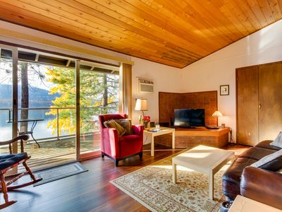 Photo for Lakefront condo w/ lovely views, beach access & shared pool/hot tub/sauna!