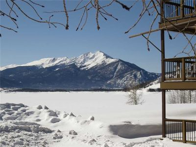 Photo for Dillon Ski Condo - Ground Floor, Awesome Mountain Views, Patio, Gas Fireplace, Lawn for Snowplay