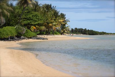 Take a daily walk or swim on this secluded beach in front of your vacation home.