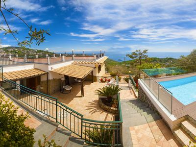 Photo for Villa Makia with Heated Private Swimming Pool, Sea View, Terraces and Parking