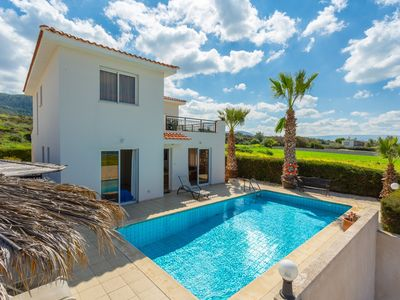 Photo for Villa Zinia: Large Private Pool, Walk to Beach, Sea Views, A/C, WiFi