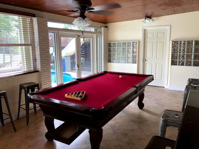 Billiard Table Overlooking Pool