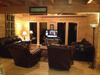Family room with leather furniture