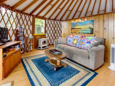Photo for Cozy, oceanfront, dog-friendly yurt with private hot tub