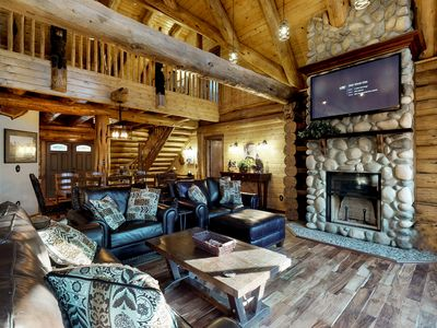 Photo for Luxury log home w/ fireplace, forest view - near Leavenworth!