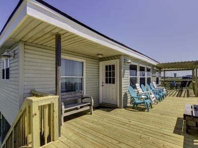 Photo for Right on the Beach--Incomparable view of the Gulf from the large beachfront deck