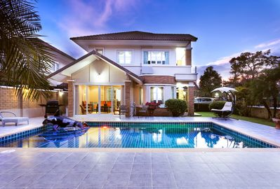 Side view of our villa with our private swimming pool.