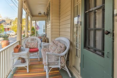 This Ocean Grove home comfortably sleeps 7 guests and offers a front porch!