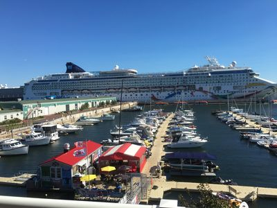 Balcony view, condo front. Cruise ships dock May-Oct!