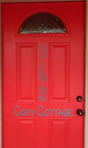 Recently painted name on front door!