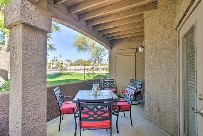 Bring dinner outside on one of the 2 private patios.
