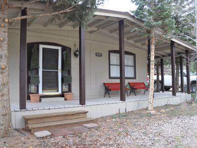Photo for LONGSHOT CABIN, One Level, updated,  walk/ take shuttle to all the fun in town