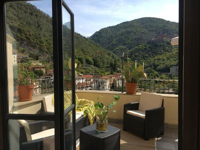 Photo for Casa vacanze with fabulous terrace Pigna, Medieval Italian Riviera village