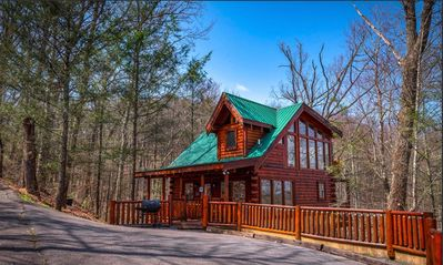 Photo for New Listing!Deep in the Woods,No Steep Roads,Wifi,Hot Tub,Jacuzzi,Pets