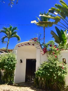 Front entrance with typical blue Sayulita sky overhead.