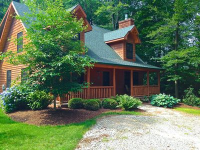 Photo for RELAXING CABIN IN THE WOODS, HEATED POOL & FIREPLACE