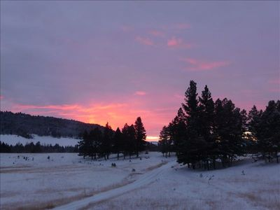 Fabulous sunrises out the Great Room windows of the lodge, views in all seasons.