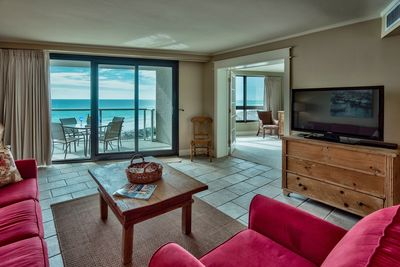 large TV to enjoy or view gulf from living room