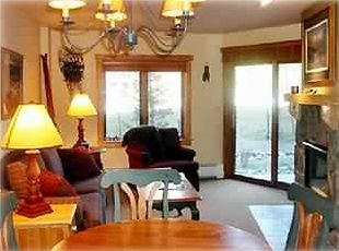 Comfortable dining/room,  couch, chair, mossy rock fireplace and patio views....