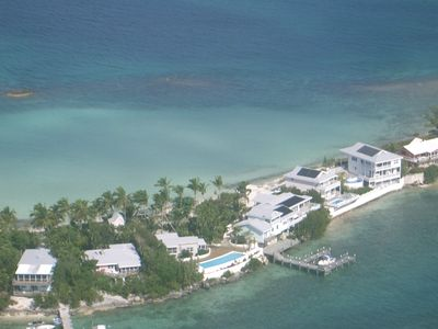 aerial shot of the house and boat dock