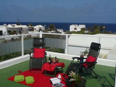 Photo for Apartment GAIALAN in Charco del Palo for 3 persons with shared pool, terrace, garden, views to the ocean, views of the volcanoes, WIFI and less than 100m to the sea