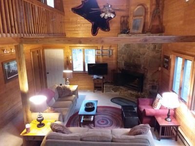 huge great room with awesome fireplace