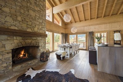 Easy living and dining with a HUGE log fire