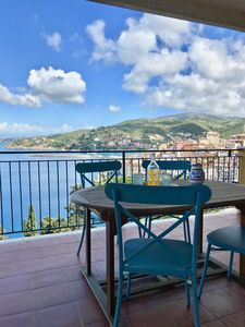 Al Fresco dining on the main terrace with view of Spanish Fort and port