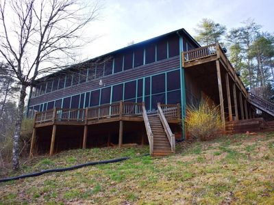 Photo for 5BR/3BA Cabin On Fightingtown Creek (A Trophy Trout Stream), Pool Table, WiFi, Hot Tub, Satellite TV